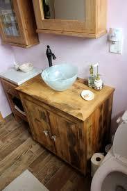 Fantastic Reclaimed Pine Bathroom Vanities For Wood Plank Cabinets - Black bathroom vanity with vessel sink