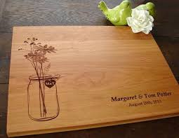 cutting board wedding gift rustic jar custom cutting board wedding present bridal