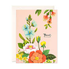 light pink floral thank you card joojoo paper