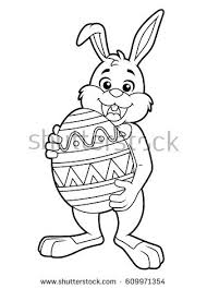 big easter bunny easter bunny carrying big egg stock vector 609971354