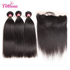 hair extensions for crown area lace frontal with 3pcs straight virgin brazilian yolissa hair