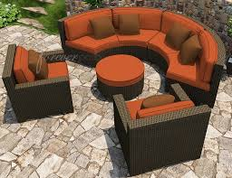 malibu collection wicker curved sofa set