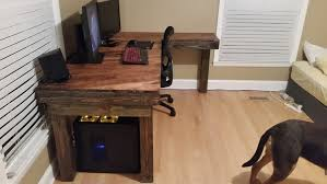 Diy Wood Computer Desk by Made A New Computer Desk Out Of Pallet Wood And Old Floorboards