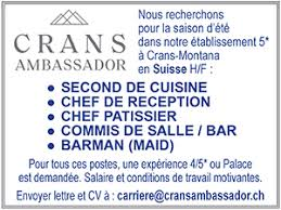 salaire commis de cuisine suisse barman suisse les offres d emploi