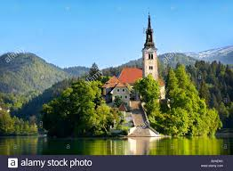 Slovenia Lake Assumption Of Mary Pilgrimage Church In The Middle Of Lake Bled