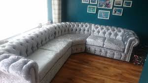 Chesterfield Corner Sofas Silver Velvet Chesterfield Corner Sofa Functionalities Net