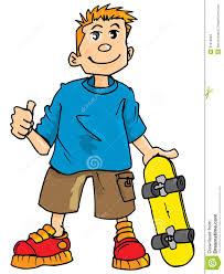 cartoon kids cartoon of a kid with a skateboard stock images
