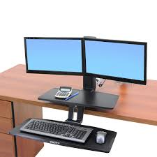 Stand Up Sit Down Desks by Standing Workstation Workfit A Dual Monitor Standing Desk Ergotron