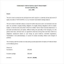 Term Sheet Template Investment Agreement Template 12 Free Word Pdf Documents