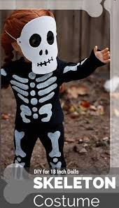 halloween skeleton costume for american or 18 inch doll