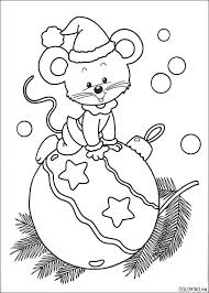 mouse on ornament tree hat coloring outline black