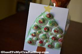 seashell christmas tree kid craft glued to my crafts