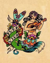 mermaid pura vida folk print 8 x 10 or 11