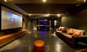 cool home cinema interior design of fabulous brown orange home