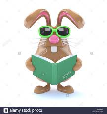 easter bunny book 3d chocolate easter bunny rabbit is reading a book stock photo