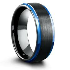 black mens wedding ring 8mm blue black mens tungsten wedding band with step edges