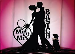 wedding cake topper with dog dog groom personalized silhouette wedding cake topper