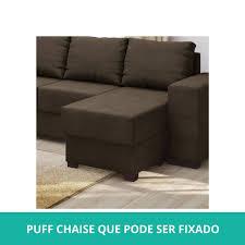 Sofá  E  Lugares Com Puff Chaise Em Tecido Animale Tabaco - Puff sofa 2