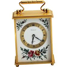 imhof bucherer swiss 8 day wind up carriage clock with gilt brass