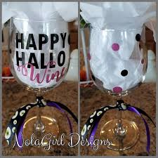 halloween wine glasses nolagirl design