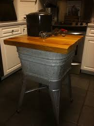 kitchen island used galvanized wash tub turned repurposed into kitchen island i