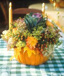 Fall Party Table Decorations - pumpkin flower centerpieces fall table decorations