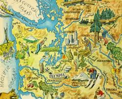 Bellingham Washington Map by Washington Pictorial Map 1946