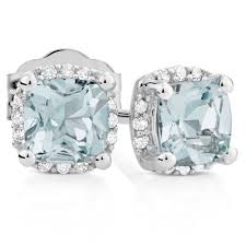 diamond earrings nz stud earrings with aquamarine diamonds in 10kt white gold