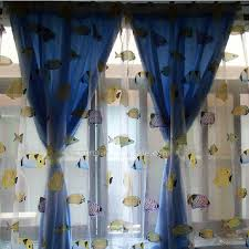 Retro Curtains Fishes Seaworld Retro Curtains Drapes With Front Sheers