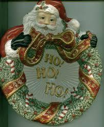 fitz and floyd cookie plate wreath christmas santa wreaths