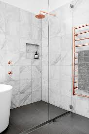 bathroom wall tile design marble and copper shower pinteres