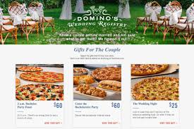 s bridal registry domino s now has a wedding registry