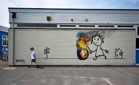 banksy strikes again leaves mark on school wall nbc news