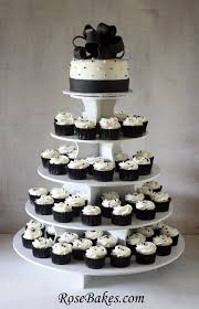 wedding cake and cupcakes black white wedding cake and cupcake tower wedding cupcake
