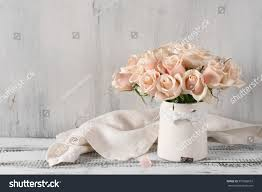 Vintage Chic Home Decor Bouquet Delicate Pink Roses Vintage Tin Stock Photo 570589819