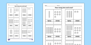 tens and units worksheets printable tens and ones worksheet count counting aid numeracy maths