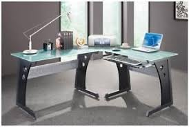 Glass Topped Computer Desk Glass Top Computer Desk For Home Office L Shaped Corner Work And