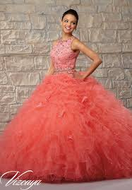 coral pink quinceanera dresses two ruffled tulle skirt with lace bodice and beading