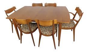 mid century modern walnut dining table leaves u0026 6 chairs set kipp