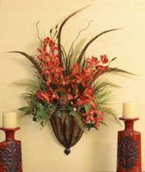 Vase Wall Sconce Fancy Flower Wall Sconces Giant Floral Arrangement In Metal Vase