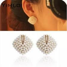 types of earrings for women new fashion beautiful rhinestone square temperament type pearl
