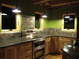 Stone Kitchen Backsplash Green Corner Kitchen Design Ideas Rustic Rectangle Stacked Stone