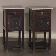 pair marble top hand carved solid oak nightstands inessa