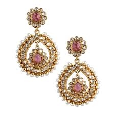 danglers earrings design buy rani pink tear drop dangler pearl polki earring c162r online