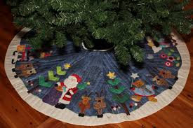 Moose Christmas Tree Skirt Applique Christmas Tree Skirt