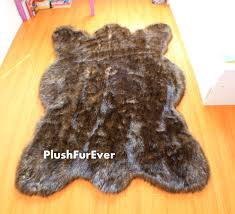 Bohemian Rugs Cheap Black Tip Wolf Fake Faux Fur Rugs Plush Large Rug Bearskin