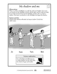 light and shadows lesson plans 1st grade 2nd grade kindergarten science worksheets my shadow and