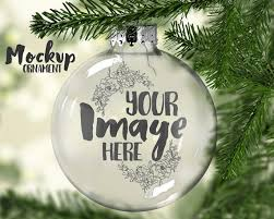 clear ornament mockup template floating ornament