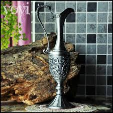 european narrow neck flower vase retro hezuishou metal
