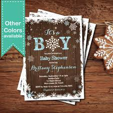 Baby Shower Invite Boy Magnificent Winter Baby Boy Shower Invitation Rustic Wood